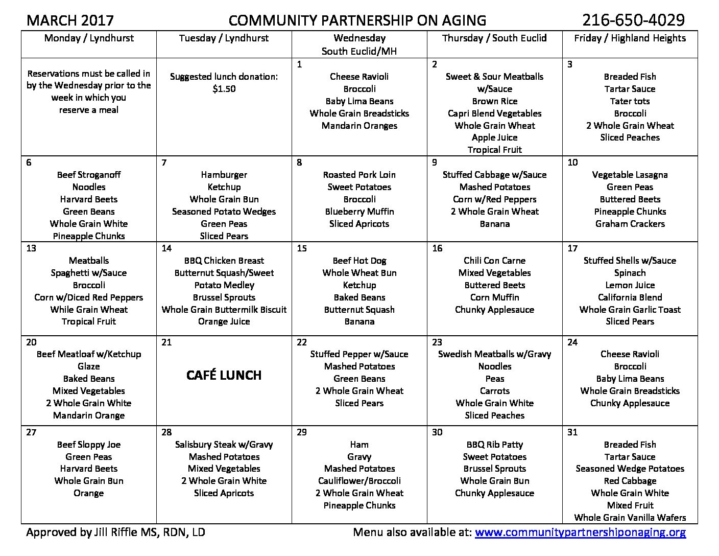 March 2017 CPA Lunch Menu