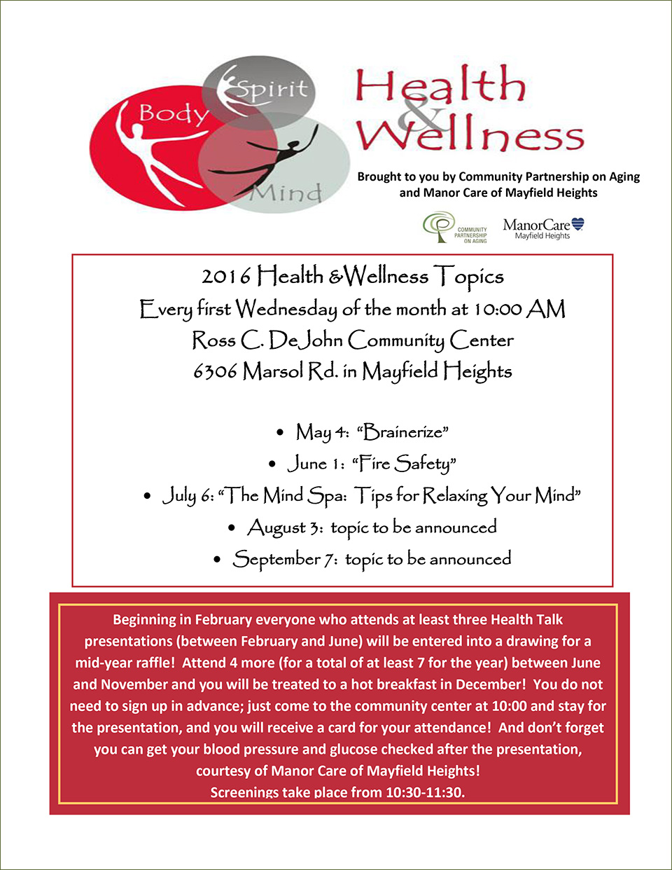 Health & Wellness Talks in Mayfield Heights. Every first Wednesday of the month at Ross DeJohn Community Center in Mayfield Heights, Ohio.