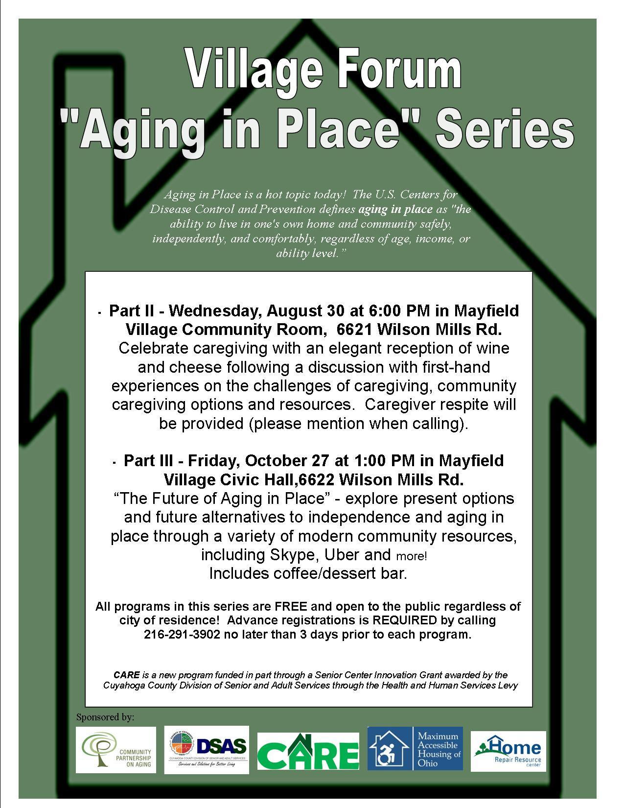 "village forum ""aging in place"" program series in mayfield village"