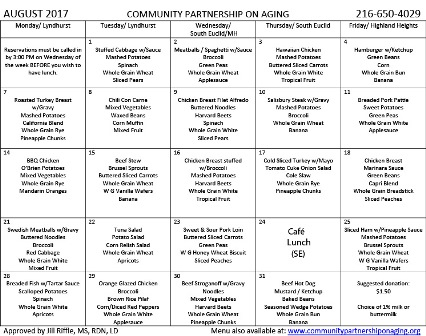 August 2017 CPA Lunch Menu