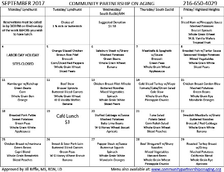 September 2017 CPA Lunch Menu