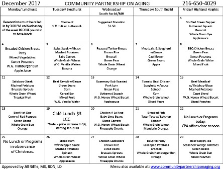 December 2017 CPA Lunch Menu