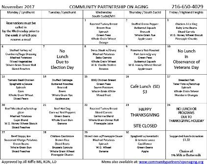November 2017 CPA Lunch Menu