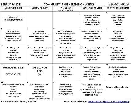 February 2018 CPA Lunch Menu