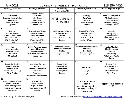 July 2018 CPA Lunch Menu