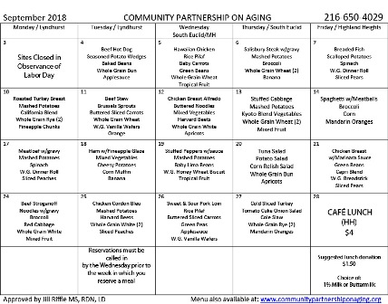 September 2018 CPA Lunch Menu