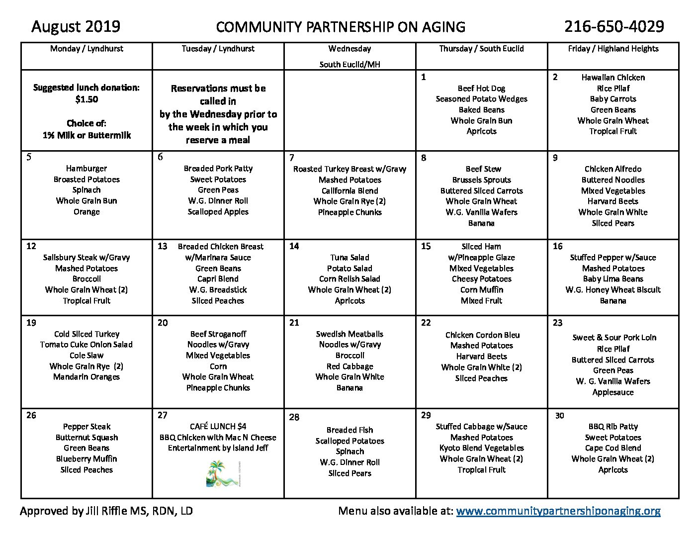 August 2019 CPA Lunch Menu