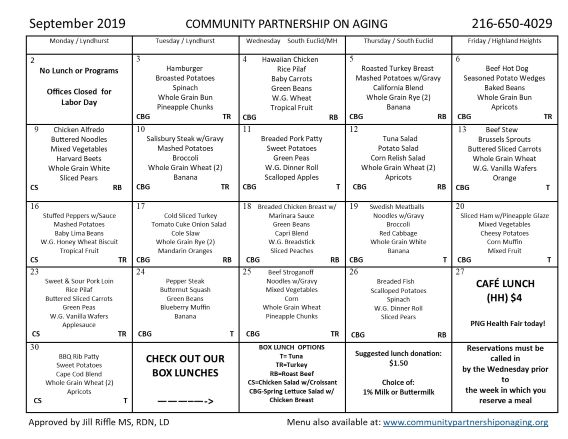 September 2019 CPA Community Lunch Menu