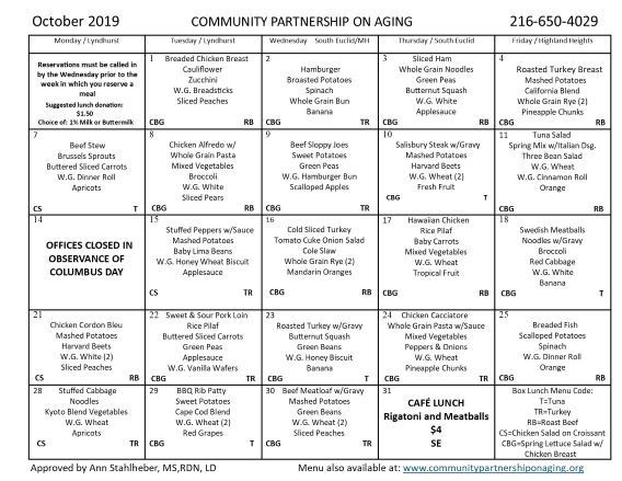 October 2019 CPA Community Lunch Menu