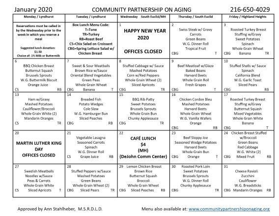 January 2020 CPA Community Lunch Menu