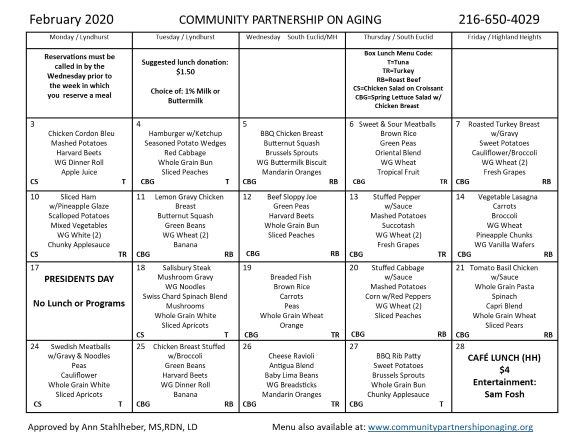 February 2020 CPA Community Lunch Menu