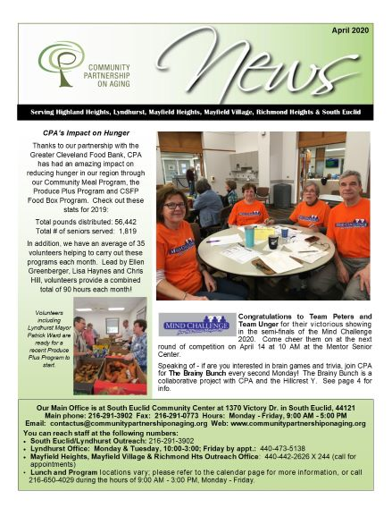 Our April newsletter was printed prior to program cancellations.  Please enjoy the newsletter but keep in mind that all programs are cancelled at least through May 1.